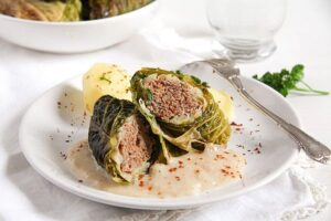 savoy cabbage rolls 4 300x200 Easy Stuffed Savoy Cabbage with Minced Meat – German Recipe