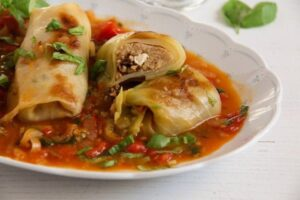 stuffed cabbage millet 3 300x200 Vegetarian Cabbage Rolls with Millet, Tomatoes and Feta