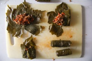 stuffed vine leaves 1 300x200 Stuffed Vine Leaves with Ricotta, Rice and Herb Filling