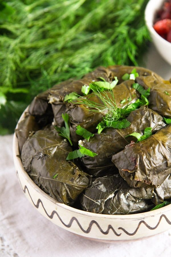 vine leaves cheese 1 Stuffed Vine Leaves with Ricotta, Rice and Herb Filling