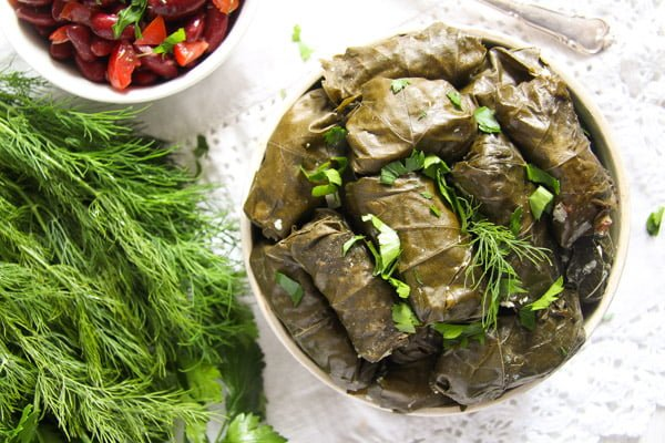 vine leaves cheese 2 Stuffed Vine Leaves with Ricotta, Rice and Herb Filling