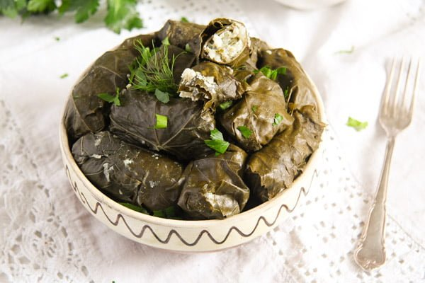 vine leaves cheese 5 Stuffed Vine Leaves with Ricotta, Rice and Herb Filling