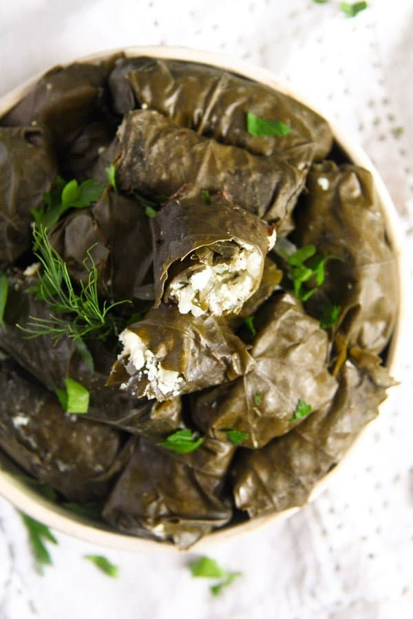 vine leaves cheese 6 Stuffed Vine Leaves with Ricotta, Rice and Herb Filling