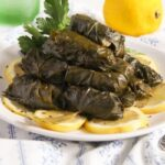 vine leaves fish 1 150x150 Stuffed Vine Leaves with Fish, Bacon and Rice