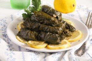 vine leaves fish 1 300x200 Stuffed Vine Leaves with Fish, Bacon and Rice