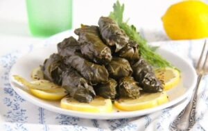 vine leaves fish 3 300x190 Stuffed Vine Leaves with Fish, Bacon and Rice