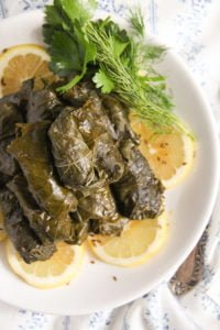vine leaves fish 4 200x300 Stuffed Vine Leaves with Fish, Bacon and Rice