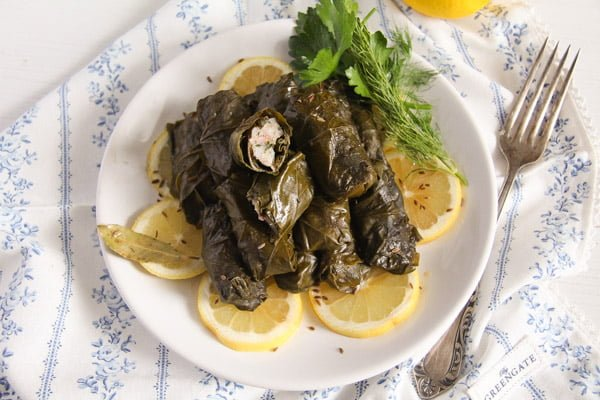 Stuffed Vine Leaves with Fish, Bacon and Rice