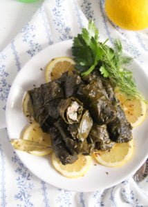 vine leaves fish 6 214x300 Stuffed Vine Leaves with Fish, Bacon and Rice