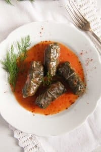 vine leaves meat 3 200x300 Stuffed Vine Leaves with Ground Meat and Rice