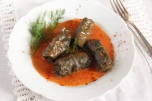 vine leaves meat 4 300x200 Stuffed Vine Leaves with Ground Meat and Rice