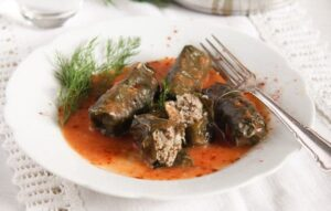vine leaves meat 5 300x191 Stuffed Vine Leaves with Ground Meat and Rice