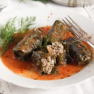 turkish sarma with rice and beef on a plate