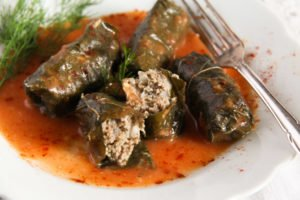 vine leaves meat 6 300x200 Stuffed Vine Leaves with Ground Meat and Rice