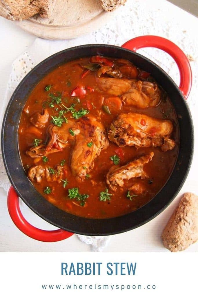 rabbit stew in a red dutch oven