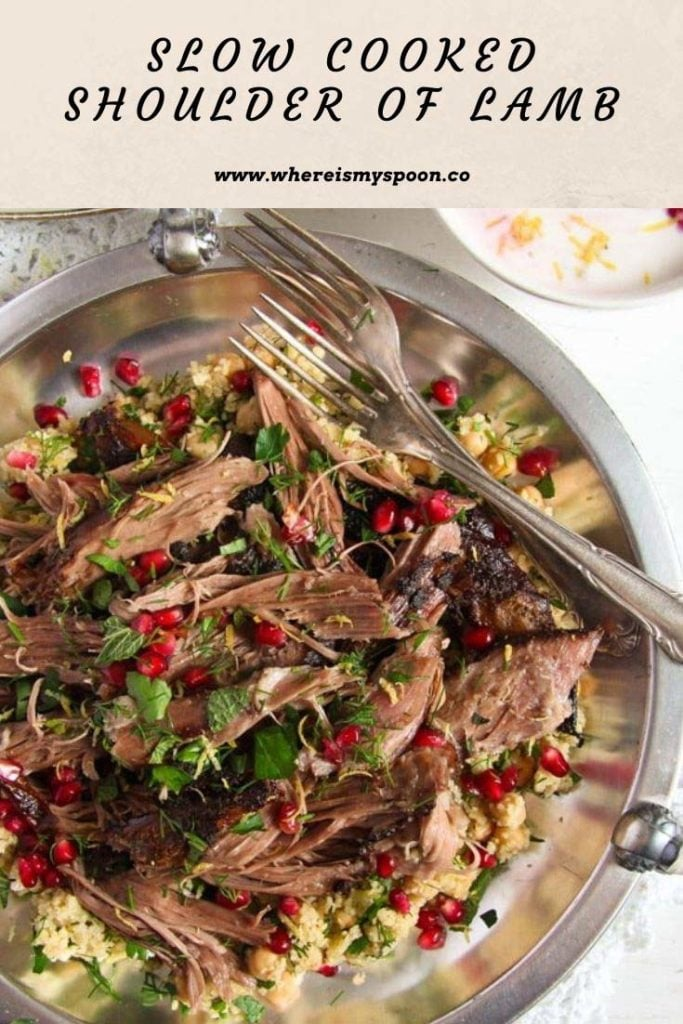 Slow Cooked Shoulder of Lamb 683x1024 Pulled Lamb with Pomegranate Mint Yogurt