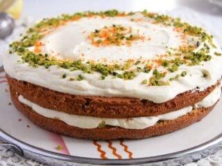 almond, orange and carrot cake on a vintage platter
