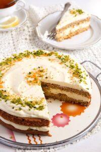 carrot orange cake 3 200x300 Carrot Cake with Almonds and Orange Juice Filling
