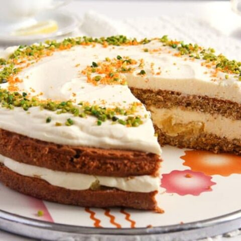 carrot almond cake filled with orange cream filling