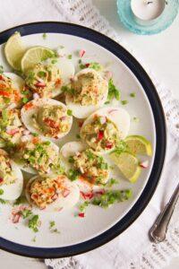 deviled eggs guacamole 8 200x300 Deviled Eggs with Mexican Avocado/ Guacamole Filling