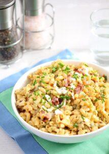 deviled eggs pasta salad 8 214x300 Creamy Deviled Egg Pasta Salad with Bacon – Eggs Recipes