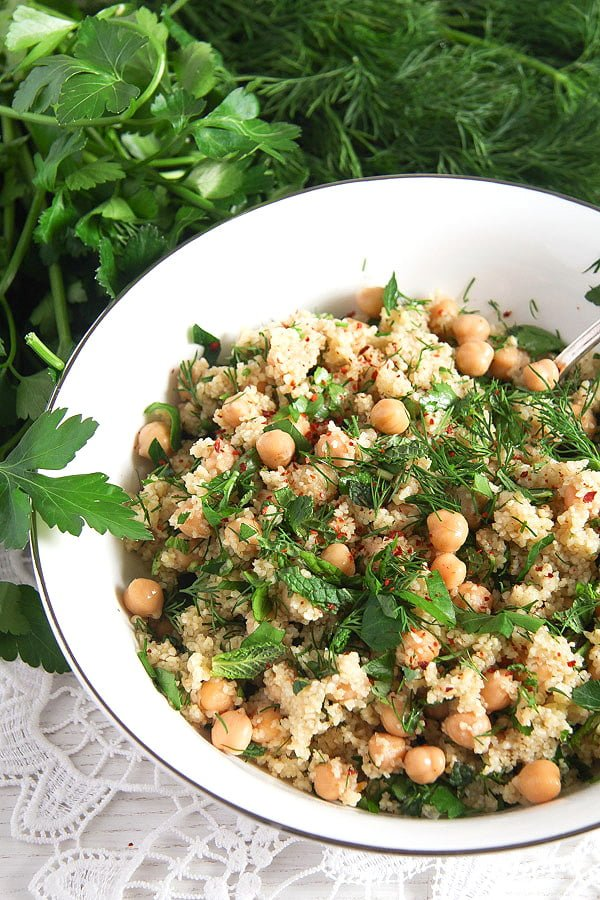 herbed bulgur 1 Vegan Bulgur Wheat Salad with Chickpeas and Herbs