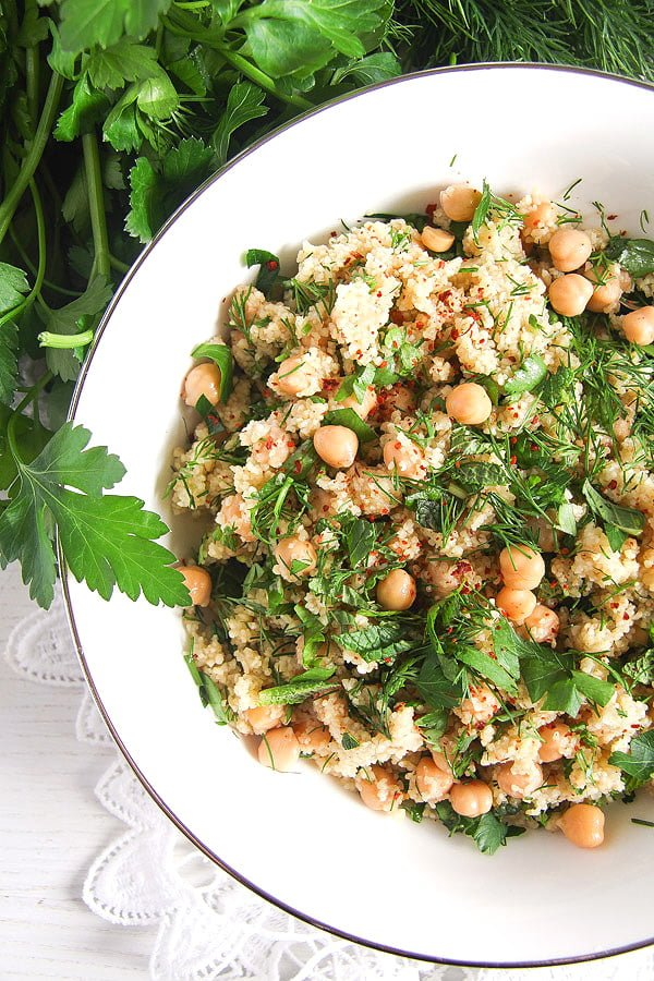 Vegan Bulgur Wheat Salad with Chickpeas and Herbs