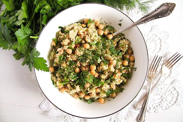 herbed bulgur 3 Vegan Bulgur Wheat Salad with Chickpeas and Herbs