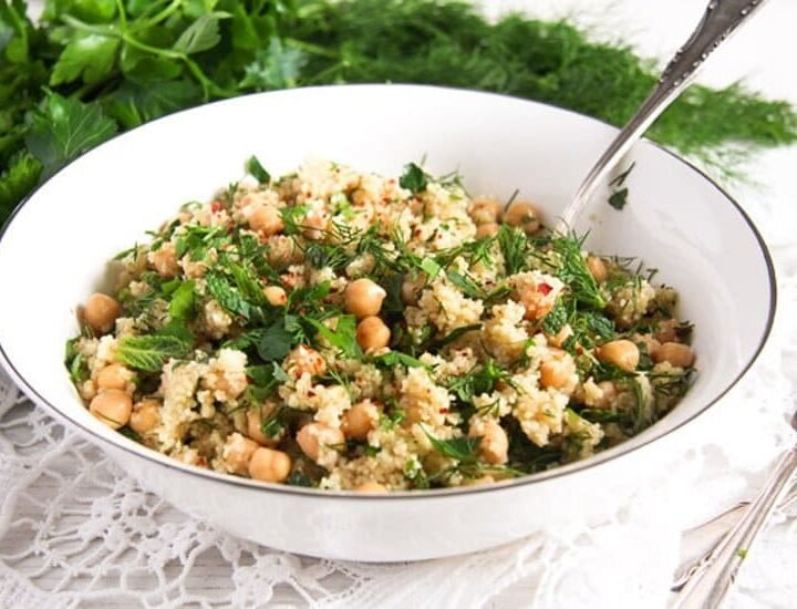 bulgur salad with herbs in a bowl