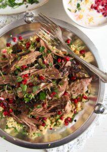 lamb 2 211x300 Slow Cooked Shoulder of Lamb with Mint Pomegranate Yogurt