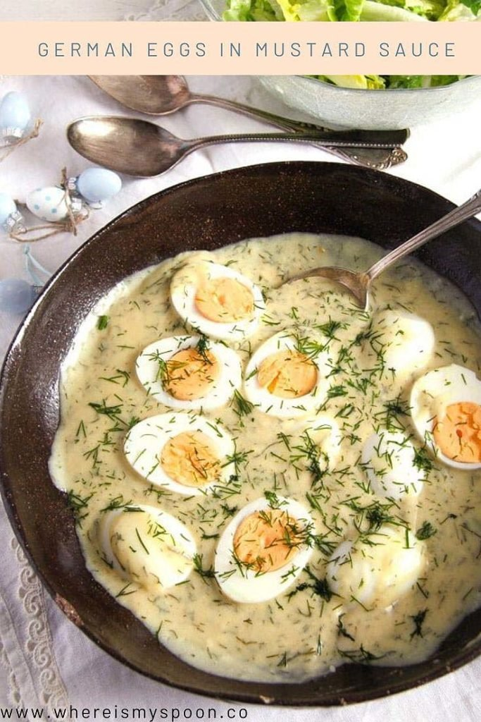 serving bowl with mustard eggs