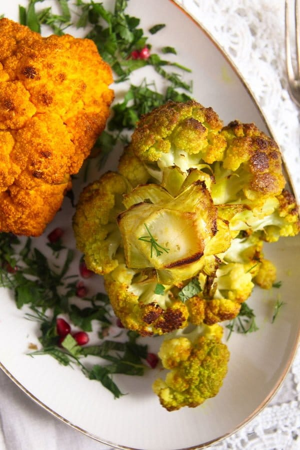 roasted cauliflower 1 Simple and Spicy Whole Roasted Cauliflower