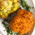curried cauliflower roasted in the oven and served with parsley