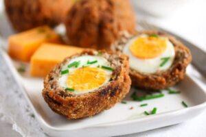 scotch eggs recipe 10 300x200 Classic Scotch Eggs Recipe – Fried, with Sausage and Herbs