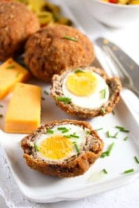 scotch eggs recipe 5 200x300 Classic Scotch Eggs Recipe – Fried, with Sausage and Herbs