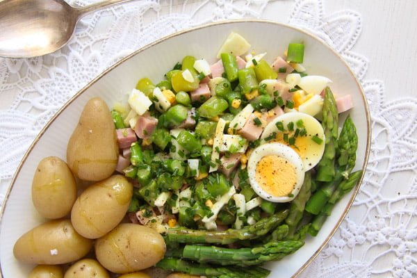 asparagus salad with cooked ham