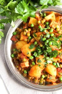 potato pea curry 6 200x300 Vegan Potato Curry Recipe with Tofu, Tomatoes and Peas