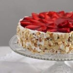 fresh strawberry cheesecake with yogurt and cream cheese