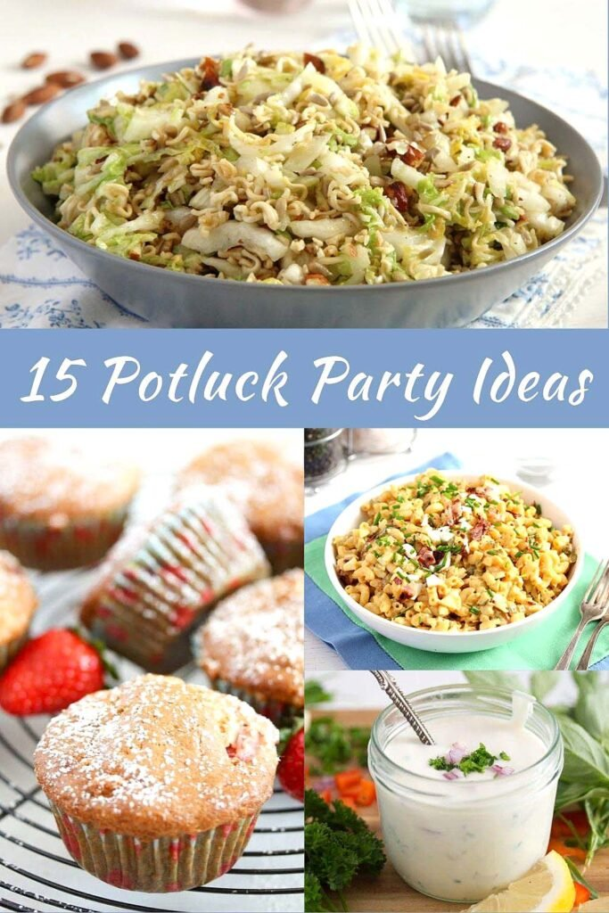 noodle salad, macaroni salad, strawberry muffins and yogurt dressing for potluck