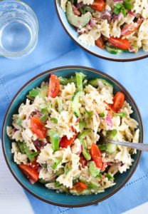 greek pasta salad 11 208x300 Greek Pasta Salad – with Green Bell Pepper and Feta