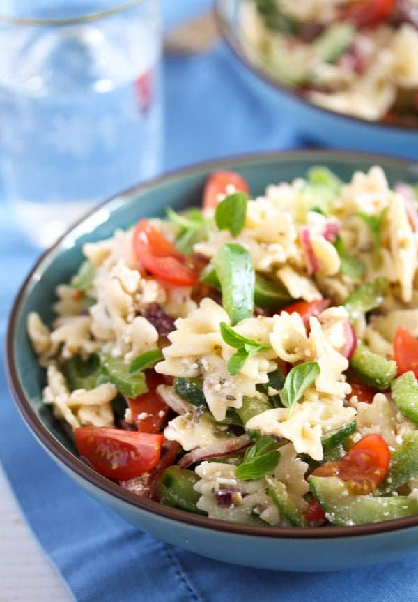 Greek feta pasta salad bowl