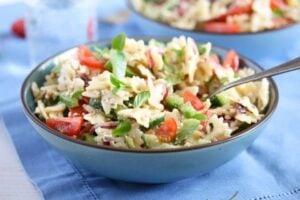 greek pasta salad 7 300x200 Greek Pasta Salad – with Green Bell Pepper and Feta