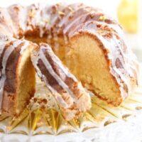 glazed bundt cake on a platter