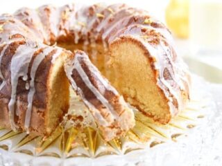 glazed bundt cake on a platter
