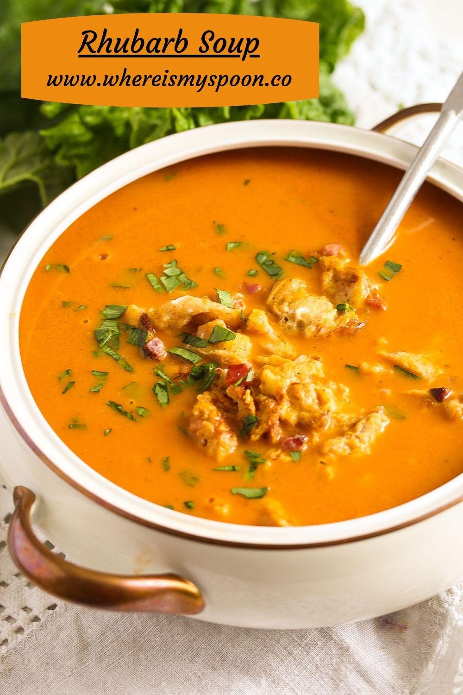 bowl of rhubarb and tomato soup