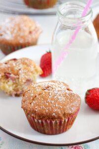 strawberry muffins 14 200x300 Strawberry Muffins with Yogurt and White Chocolate
