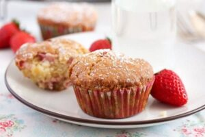 strawberry muffins 17 300x200 Strawberry Muffins with Yogurt and White Chocolate