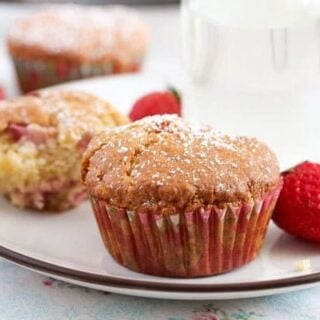 white chocoate strawberry muffin on a plate