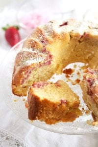 strawberry rhubarb cake 11 200x300 Strawberry Rhubarb Cake with Greek Yogurt – Bundt Cake Recipe