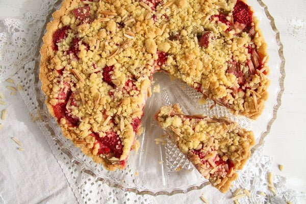 Rhubarb Crumble Tart with Strawberries